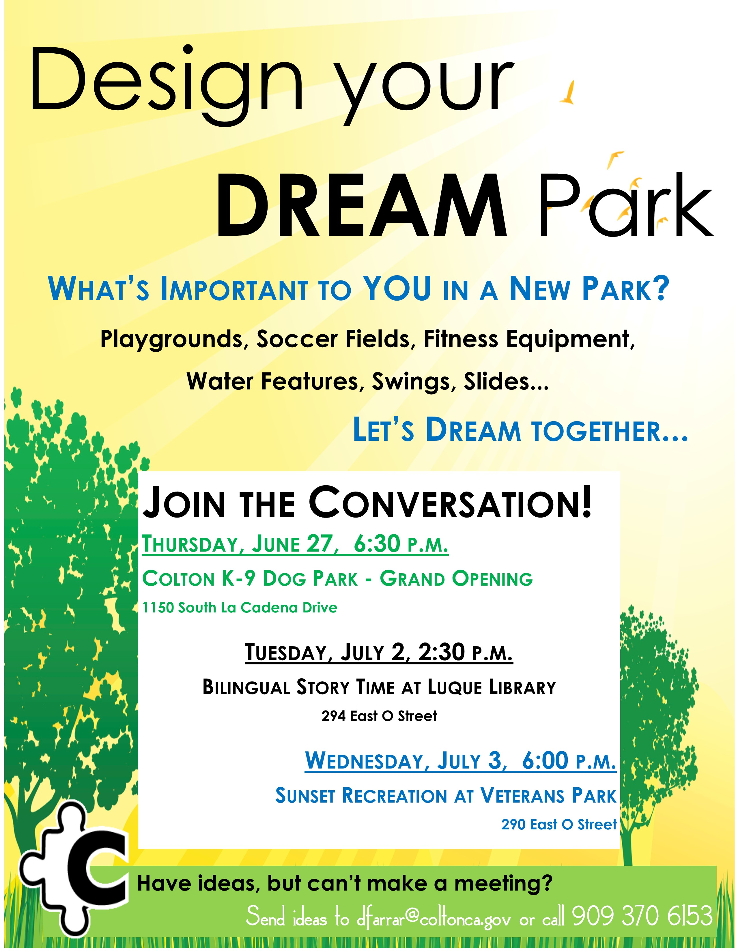 Design Your Dream Park Flyer