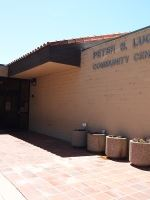 The front entrance of the Peter S. Luque Community Center