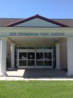 The front entrance of the Thompson Teen Center building