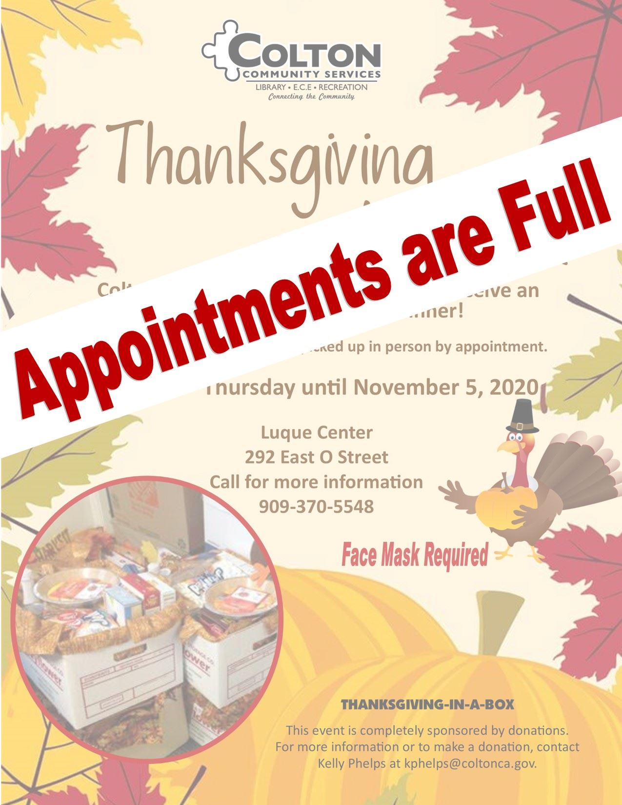 Thanksgiving Appointments Full