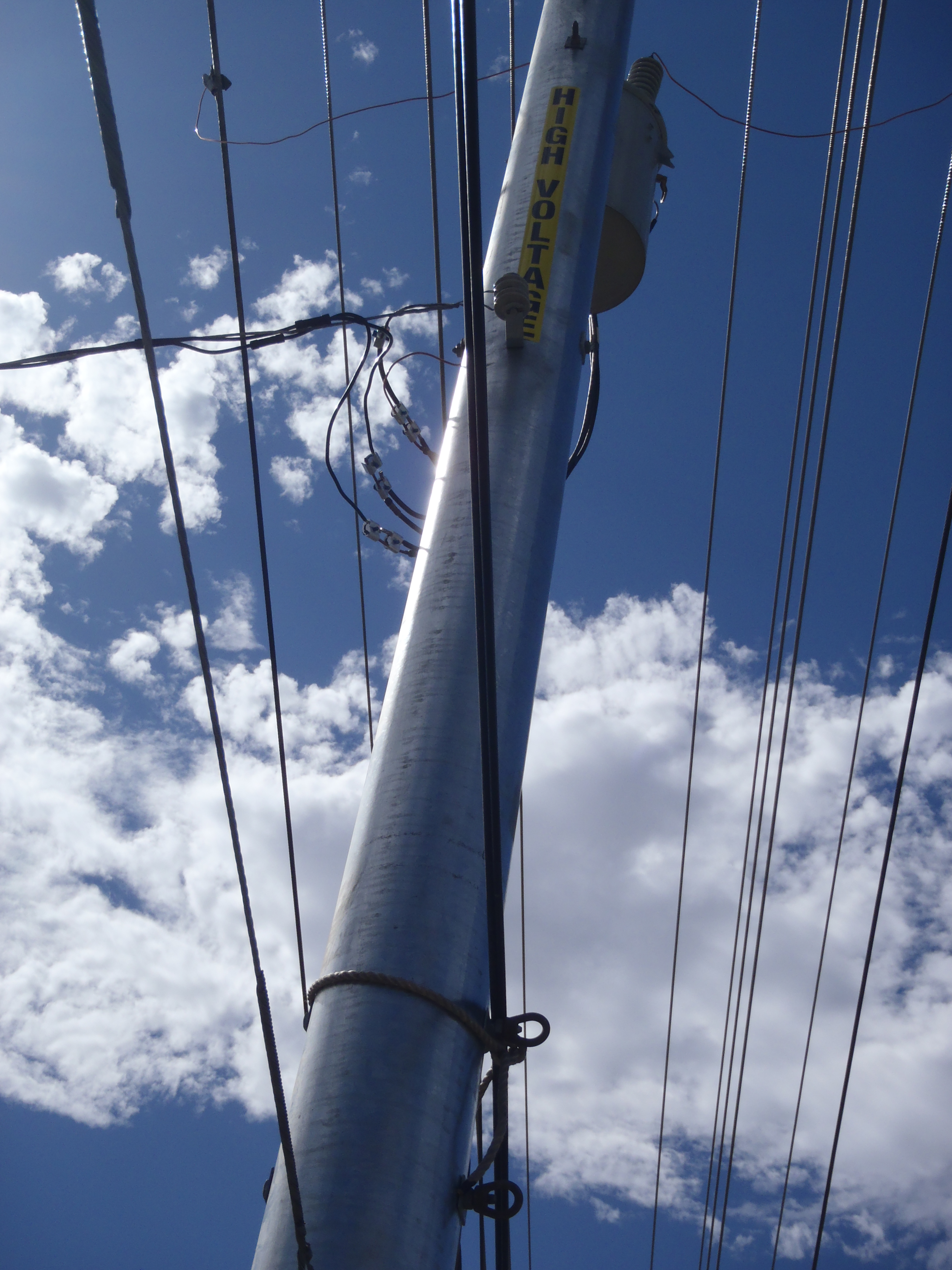 Close up of wires on pole
